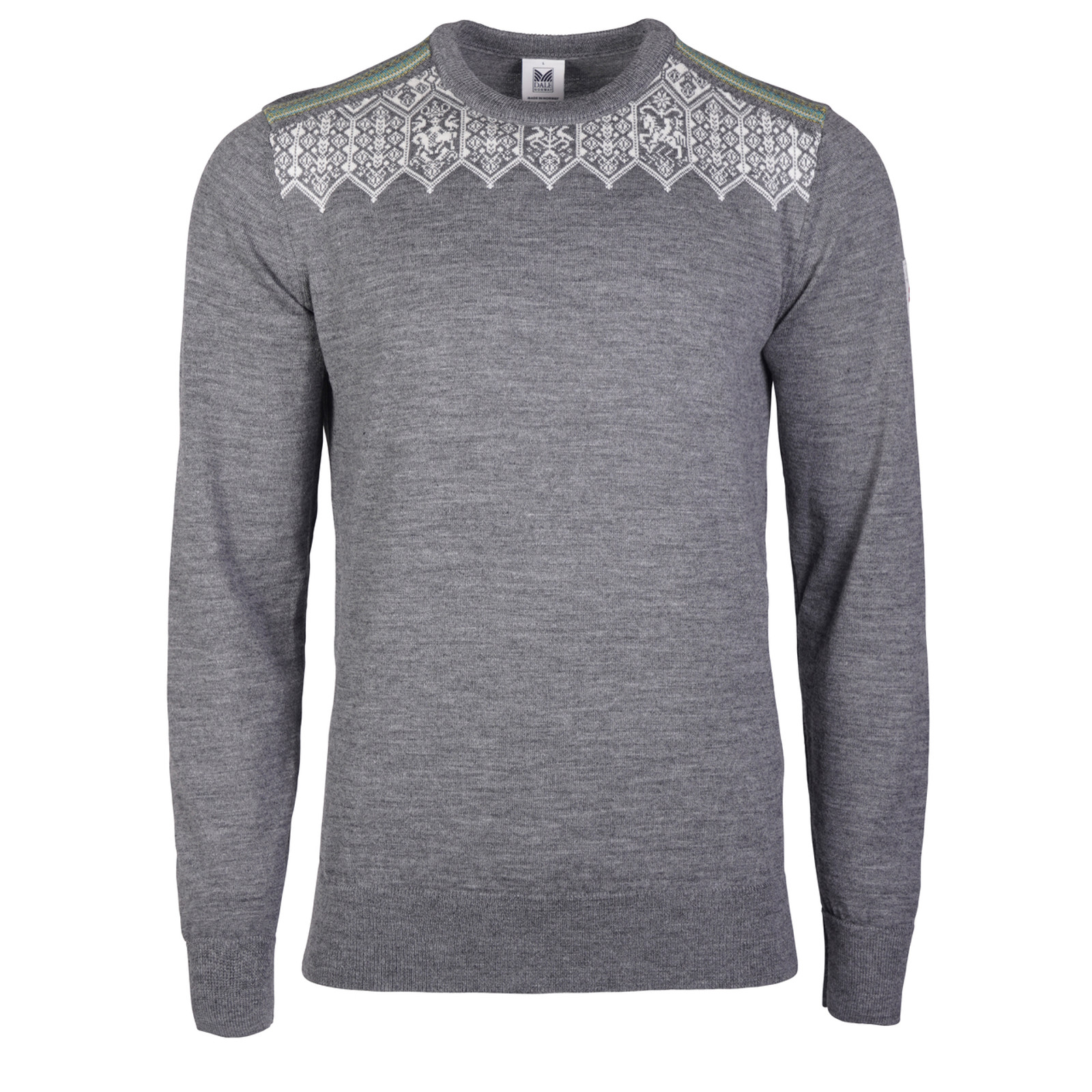 Men's Dale of Norway Lillehammer Sweater in Smoke/Off White/Arctic Blue/Turquoise, 93271-E