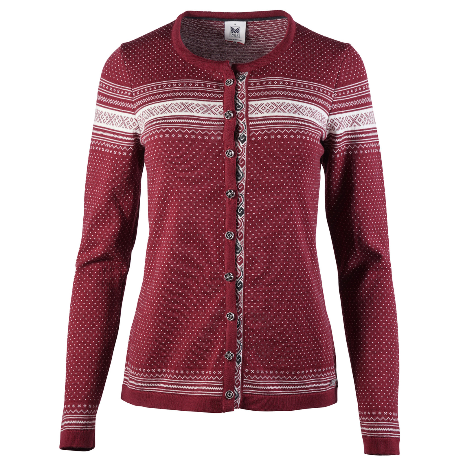 Dale of Norway Hedda Cardigan, Ladies in Ruby Melange/Off White/Dark Charcoal, 83401-V