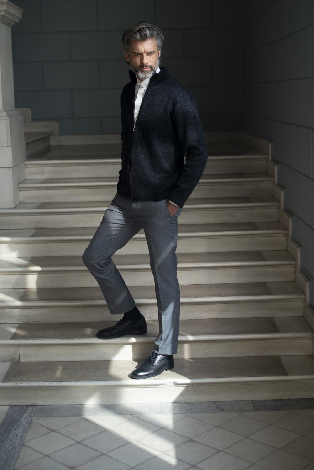 Man wearing Dale of Norway Christoffer Cardigan, Mens - Black/Dark Charcoal/Raspberry - 83471-F