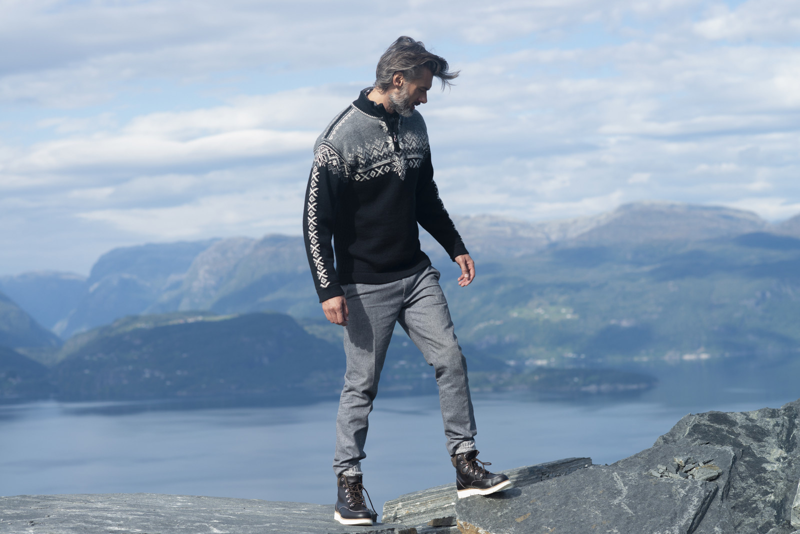 Man wearing Dale of Norway 140th Anniversary Sweater, Mens - Black/Smoke/Off White, 93951-F