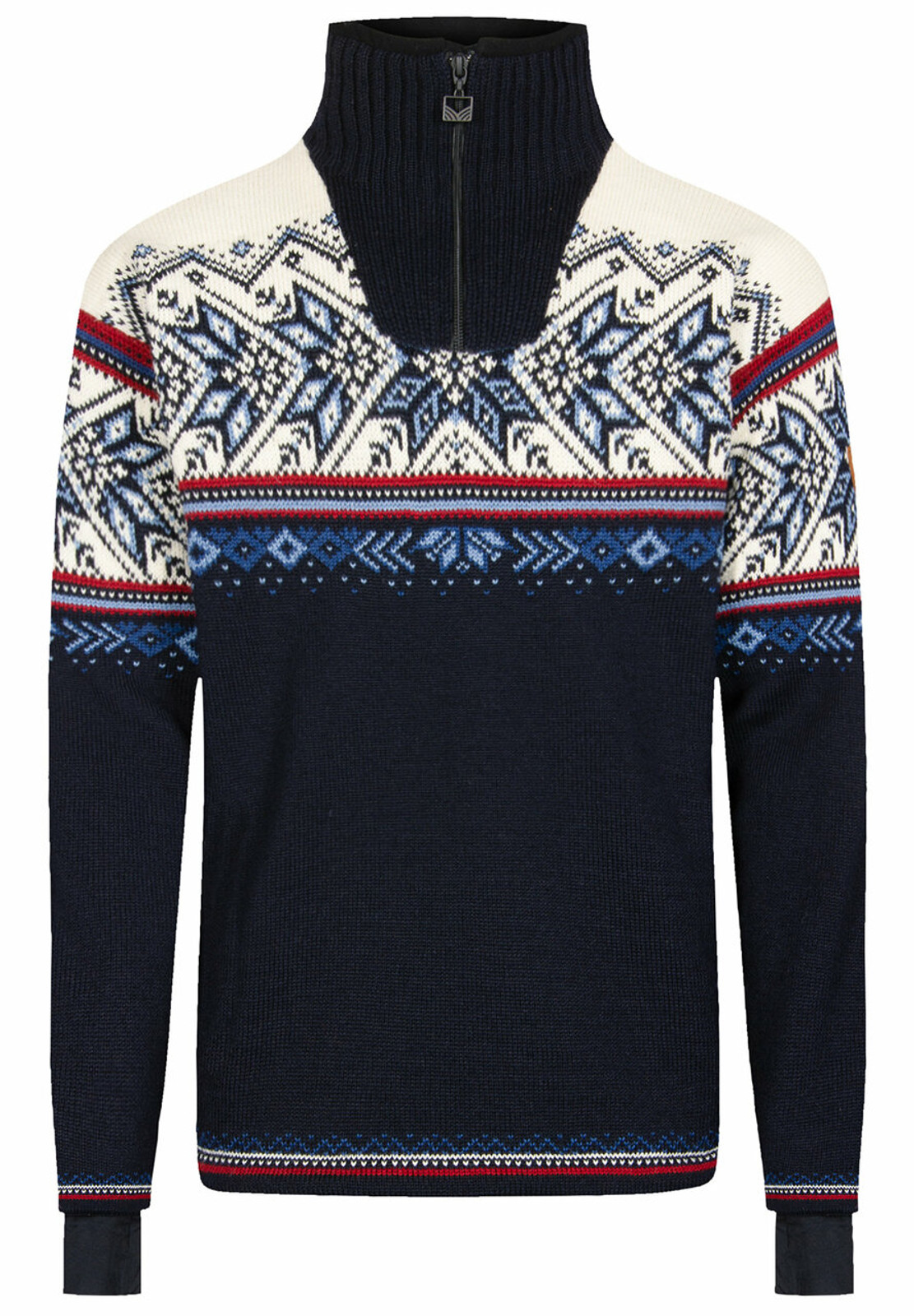 Dale of Norway Vail Weatherproof Sweater, Mens - Midnight Navy/Red Rose/Off White/Indigo/China Blue, 93981-C