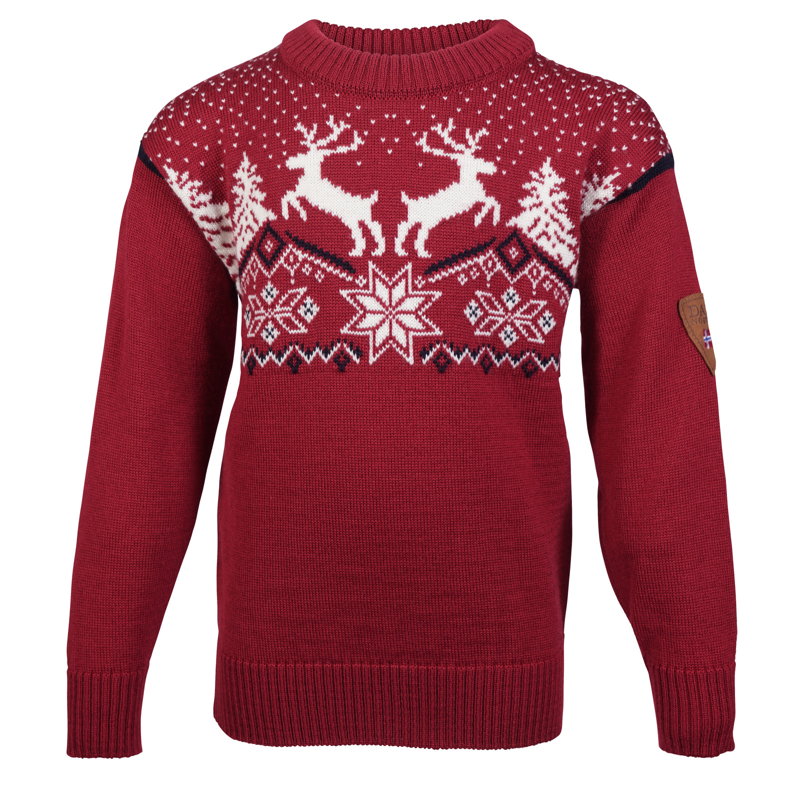 Dale of Norway Dale Christmas Sweater, Childrens - Red Rose/Off White/Navy, 93941-B