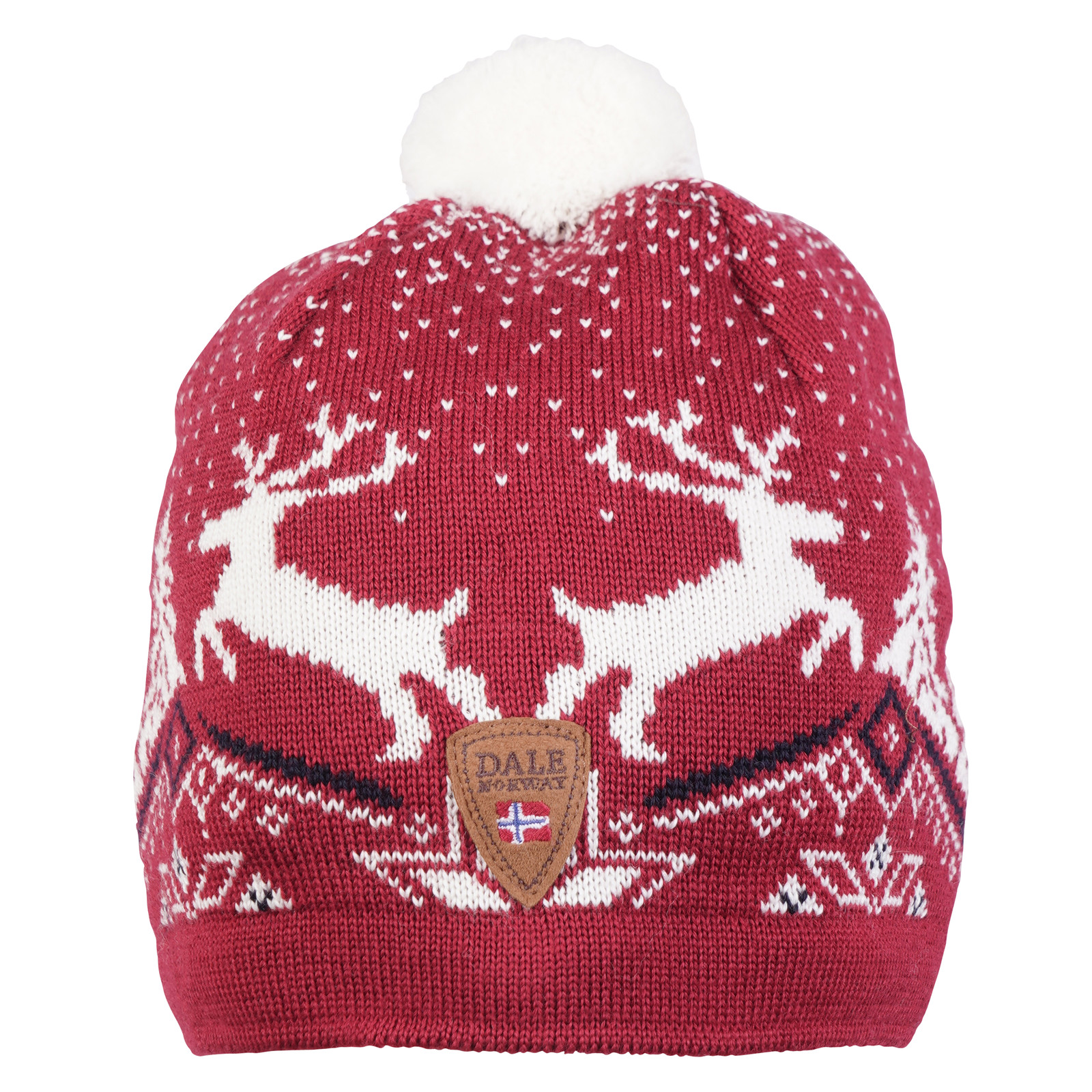 Dale of Norway Christmas Hat - Raspberry/Off White/Navy 48291-B front view