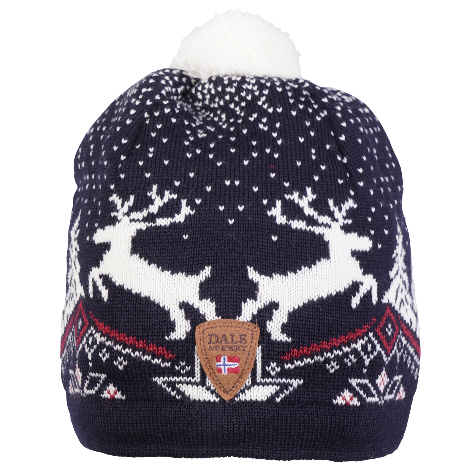 Dale of Norway Christmas Hat - Navy/Off White/Raspberry 48291-C front view