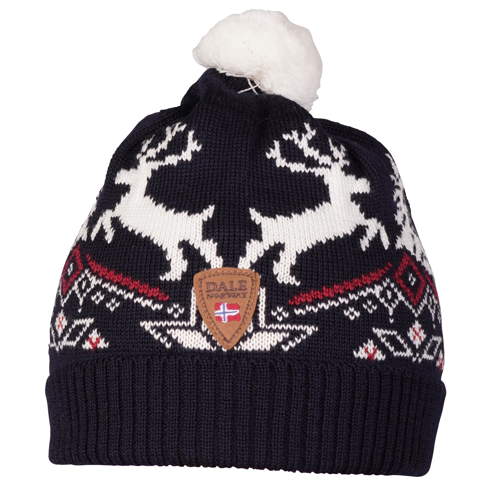 Dale of Norway Dale Christmas Kids' Hat - Navy/Off White/Raspberry 48301-C front view