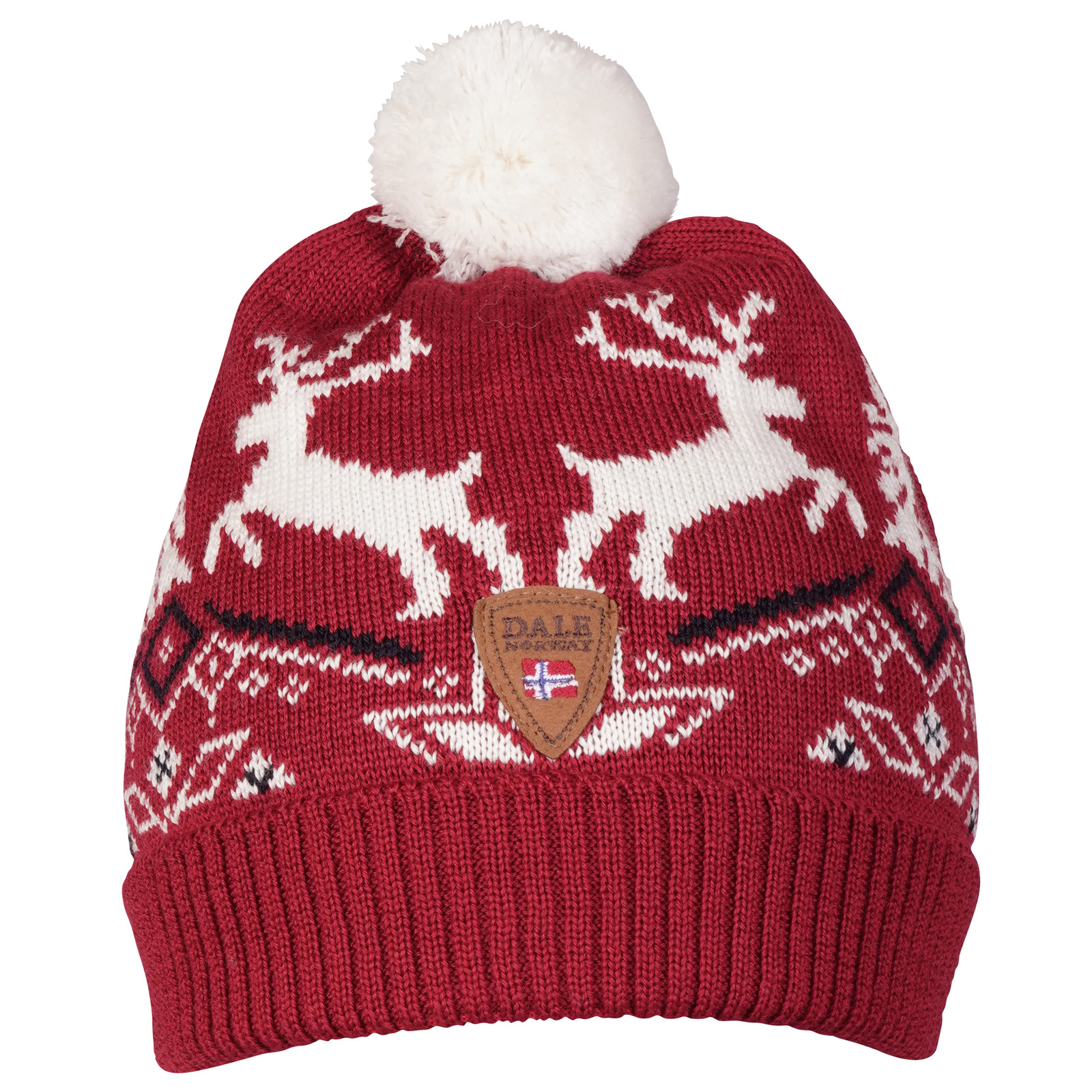 Dale of Norway Dale Christmas Kids' Hat 4-8, Raspberry/Off White/Navy 48301-B front view