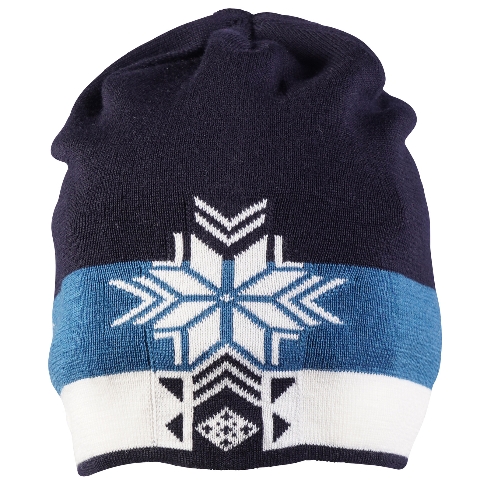 Front view of Dale of Norway Geilolia Hat - Navy/Arctic Blue/Off White, 48261-C