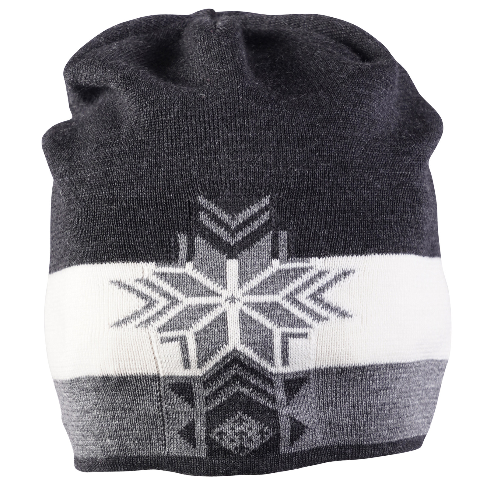 Front view of Dale of Norway Geilolia Hat - Dark Charcoal/Smoke/Off White, 48261-E