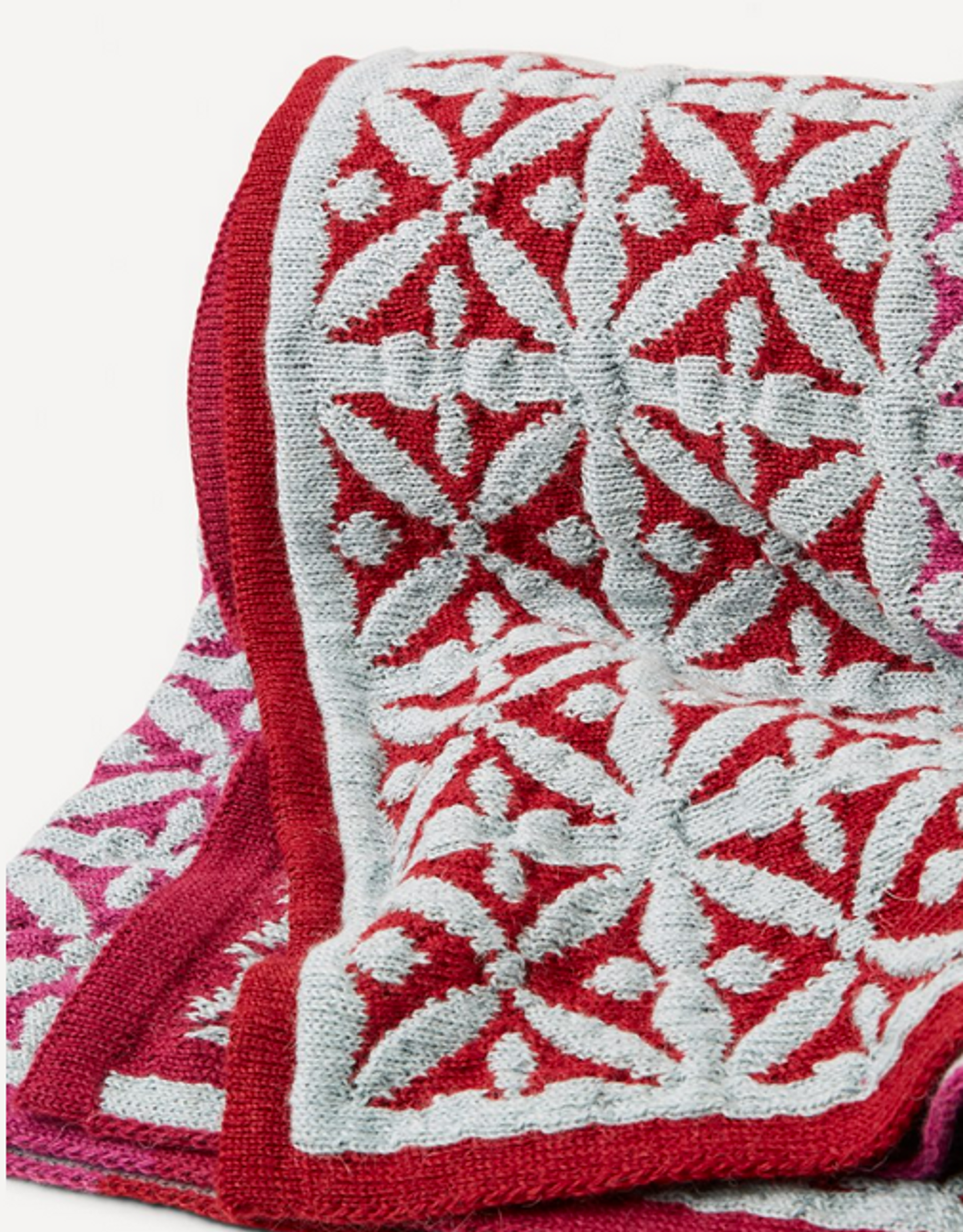Agneta Oleana Knitted Blanket, 427K Cerise/Light Blue