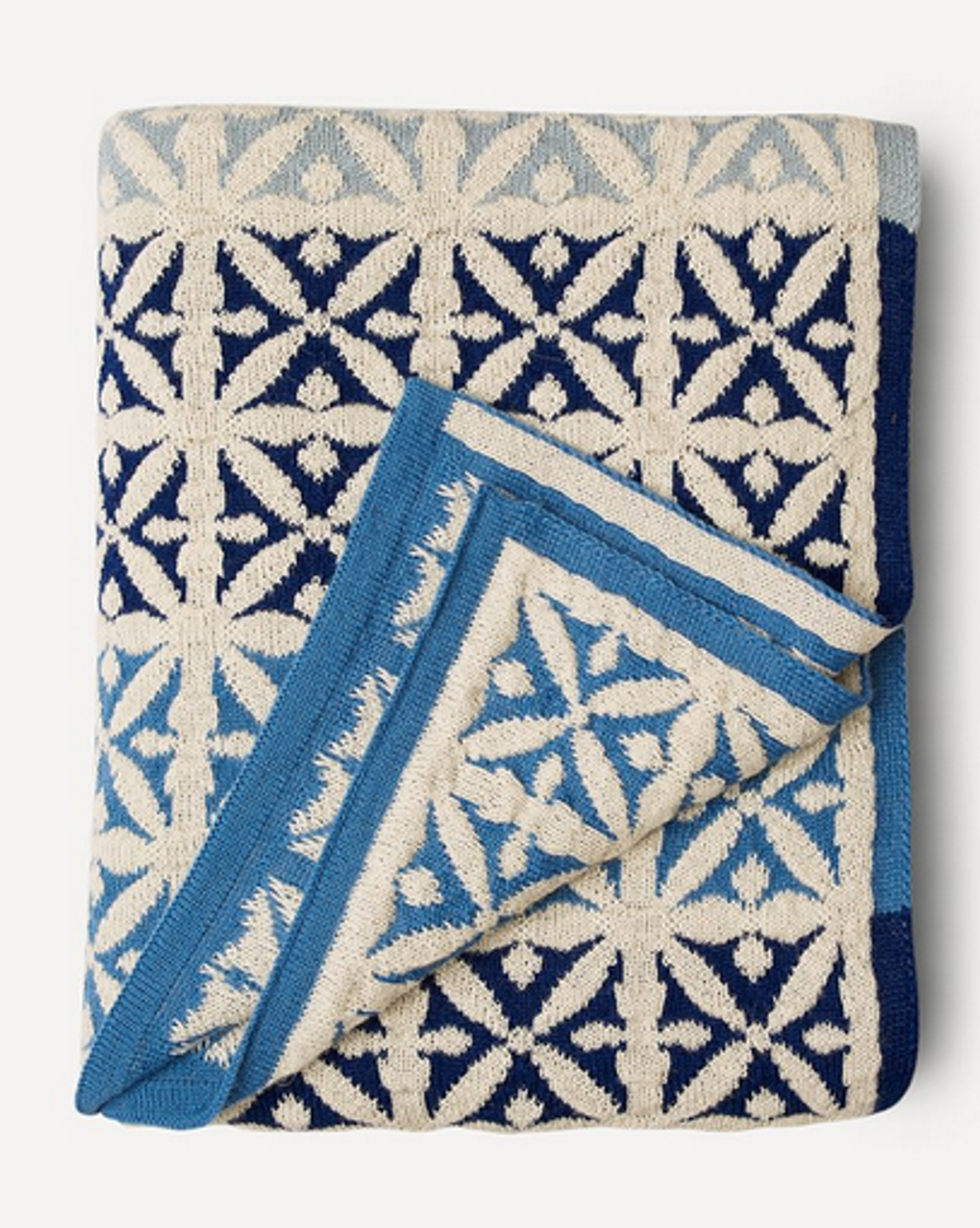 Agneta Oleana Knitted Blanket, 427F Blue/White