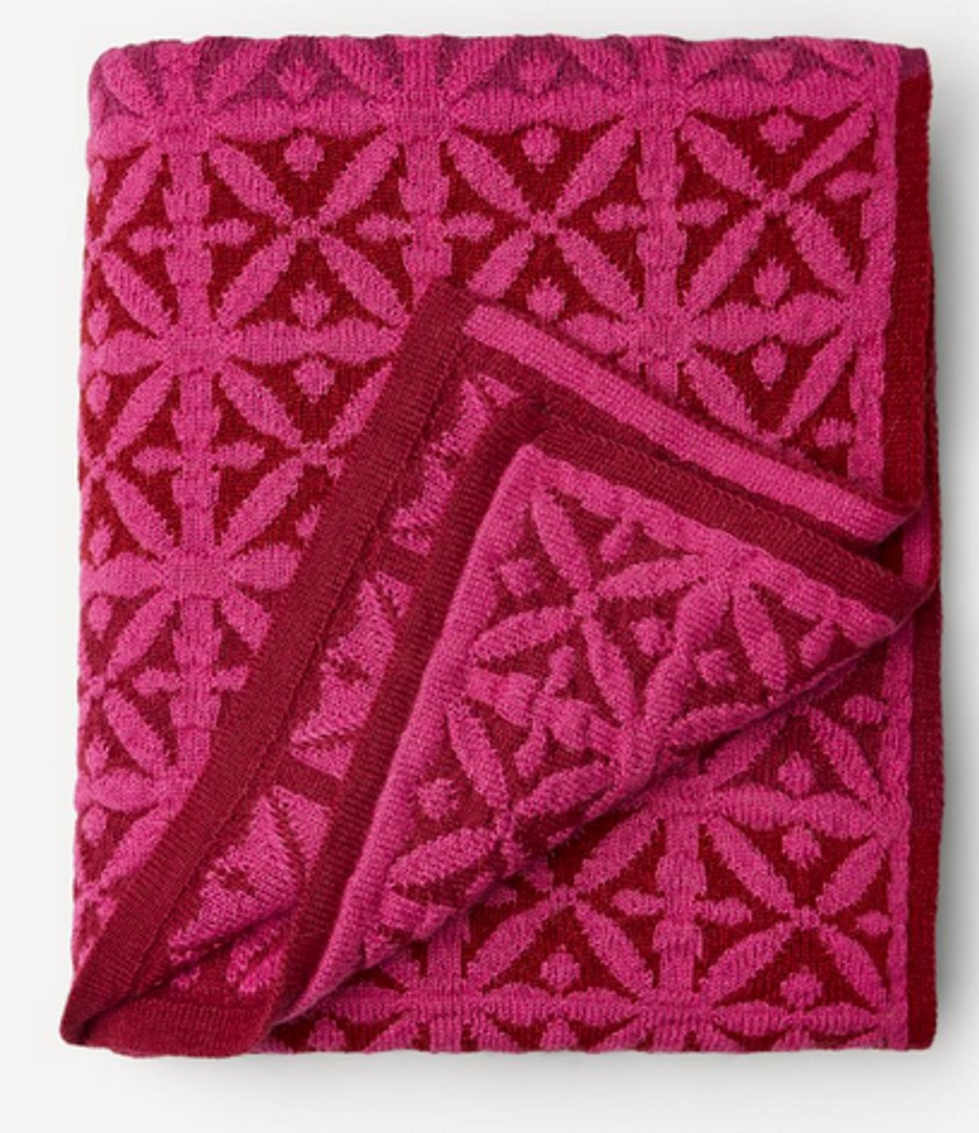 Agneta Oleana Knitted Blanket, 427K2 Cerise