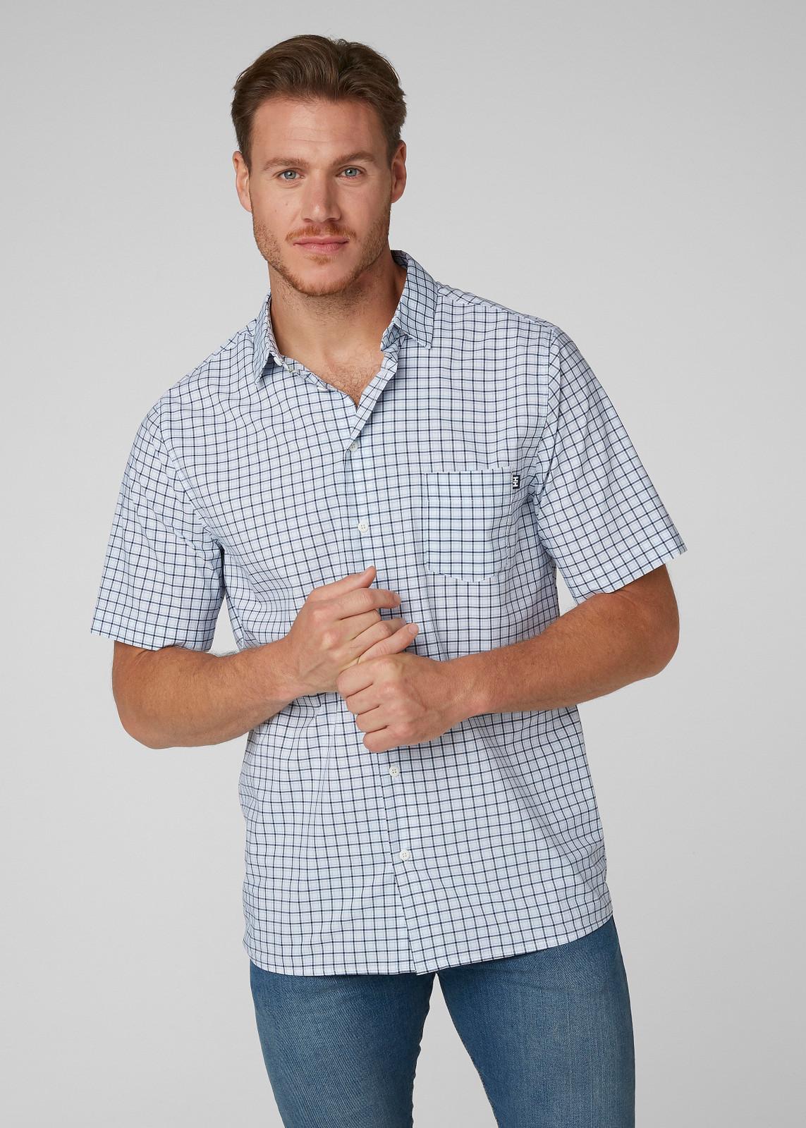 Helly Hansen Fjord QD SS Shirt, Men's - White Check, 34048-001 on model