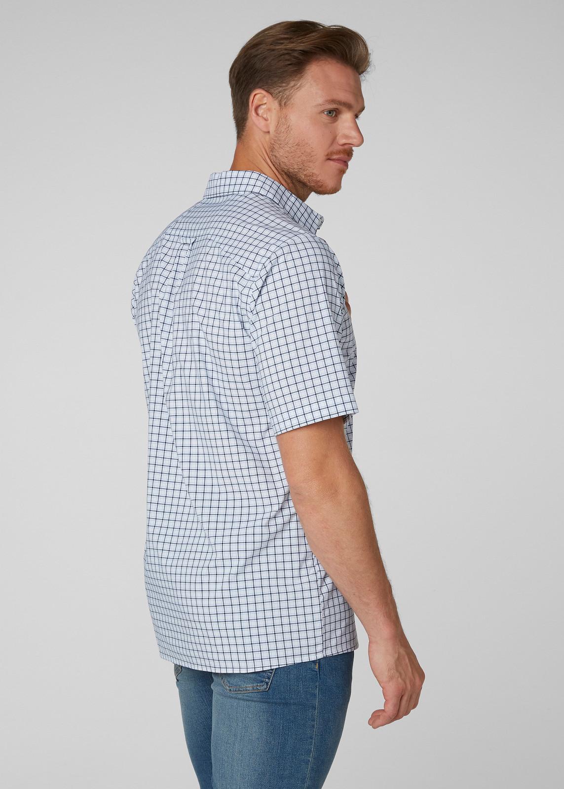 Helly Hansen Fjord QD SS Shirt, Men's - White Check, 34048-001 on model back