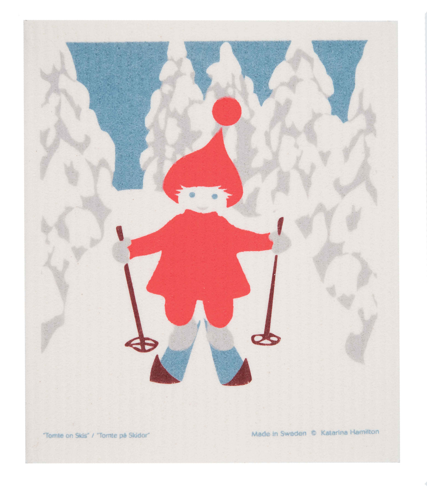Swedish Christmas Dishcloth - Skiing Tomte