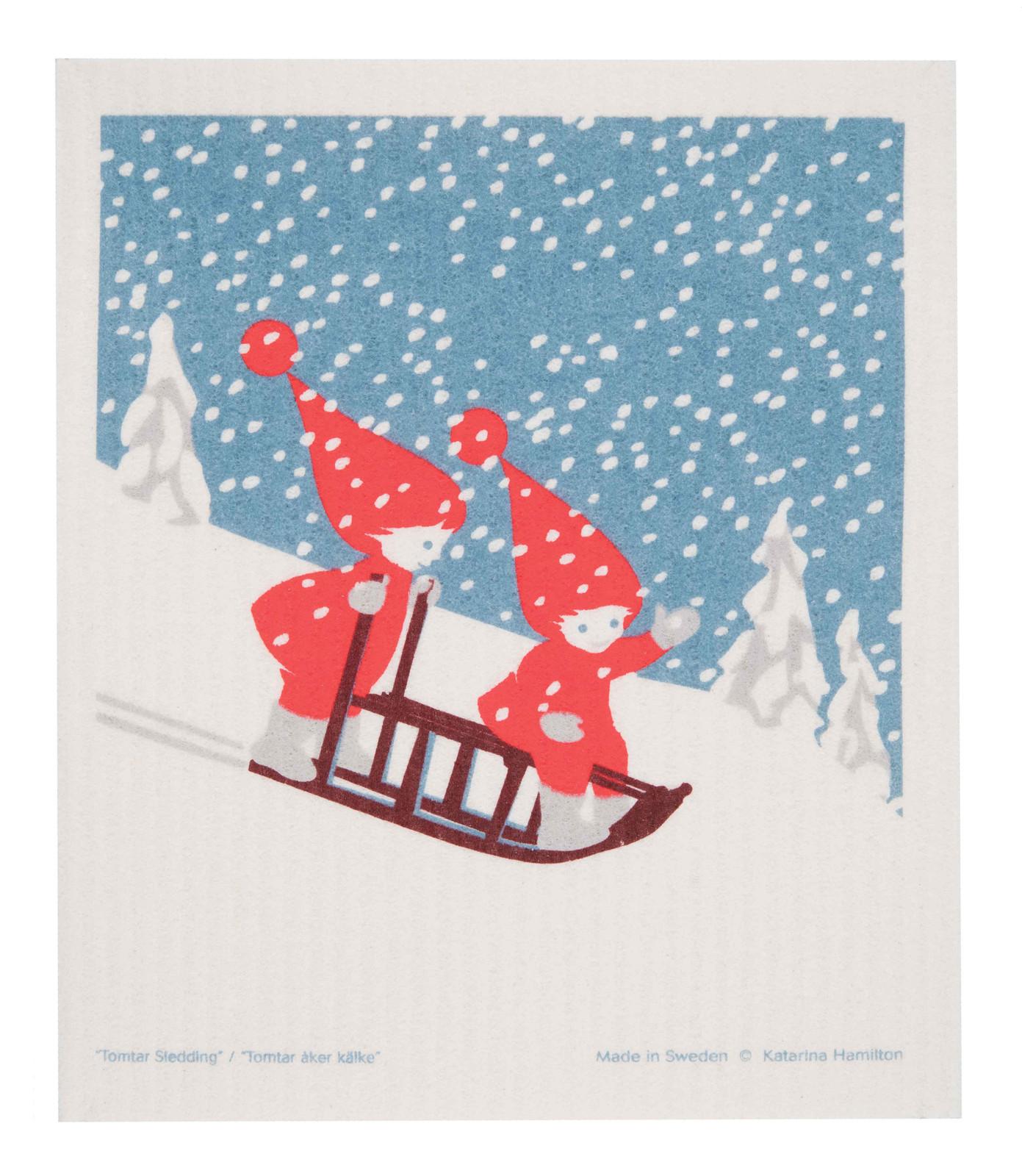 Swedish Christmas Dishcloth - Sledding Tomte