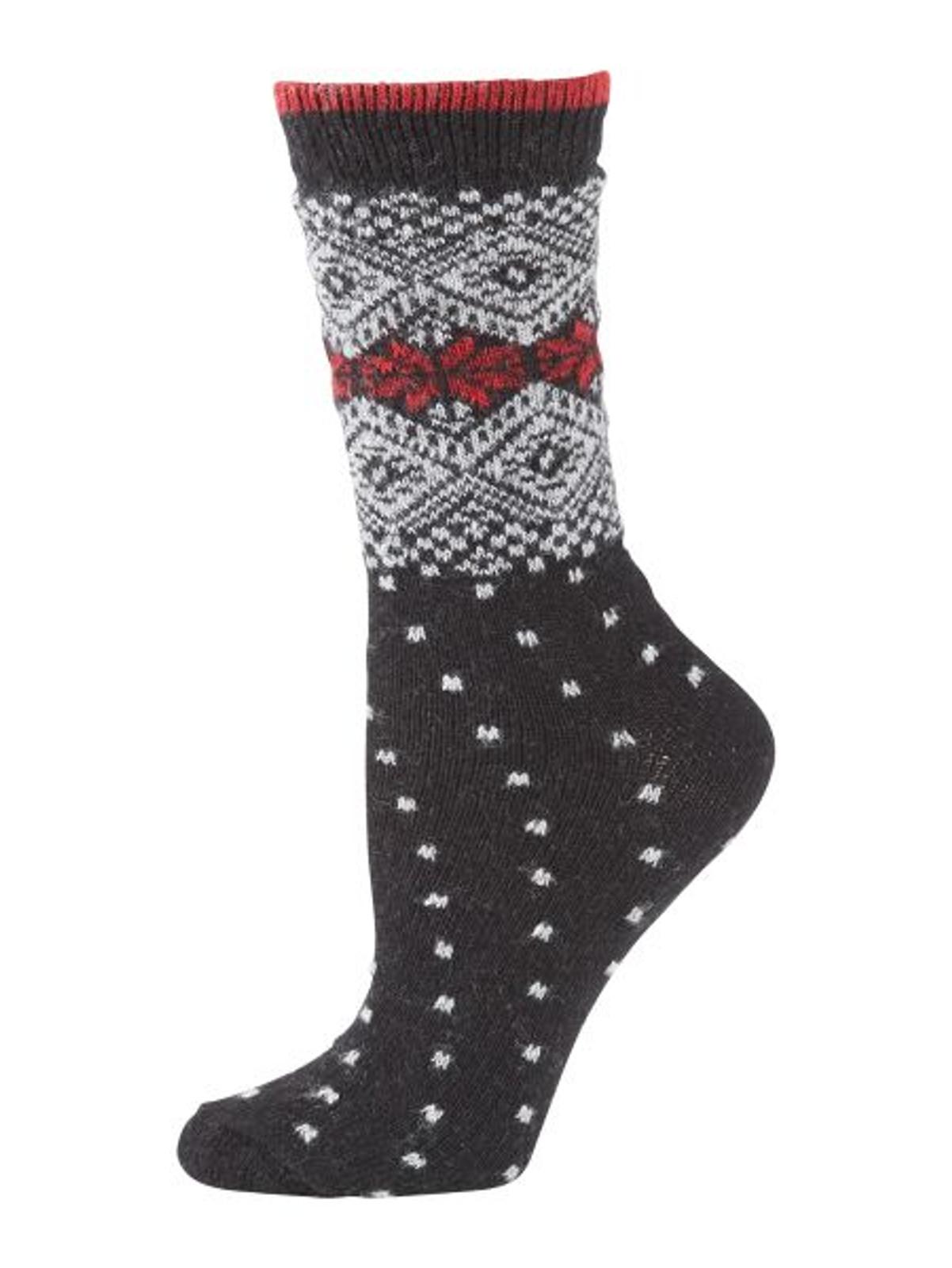 B.ELLA Ingrid Flurries Socks, Ladies' One Size - Black/Red (BE0937-07000)