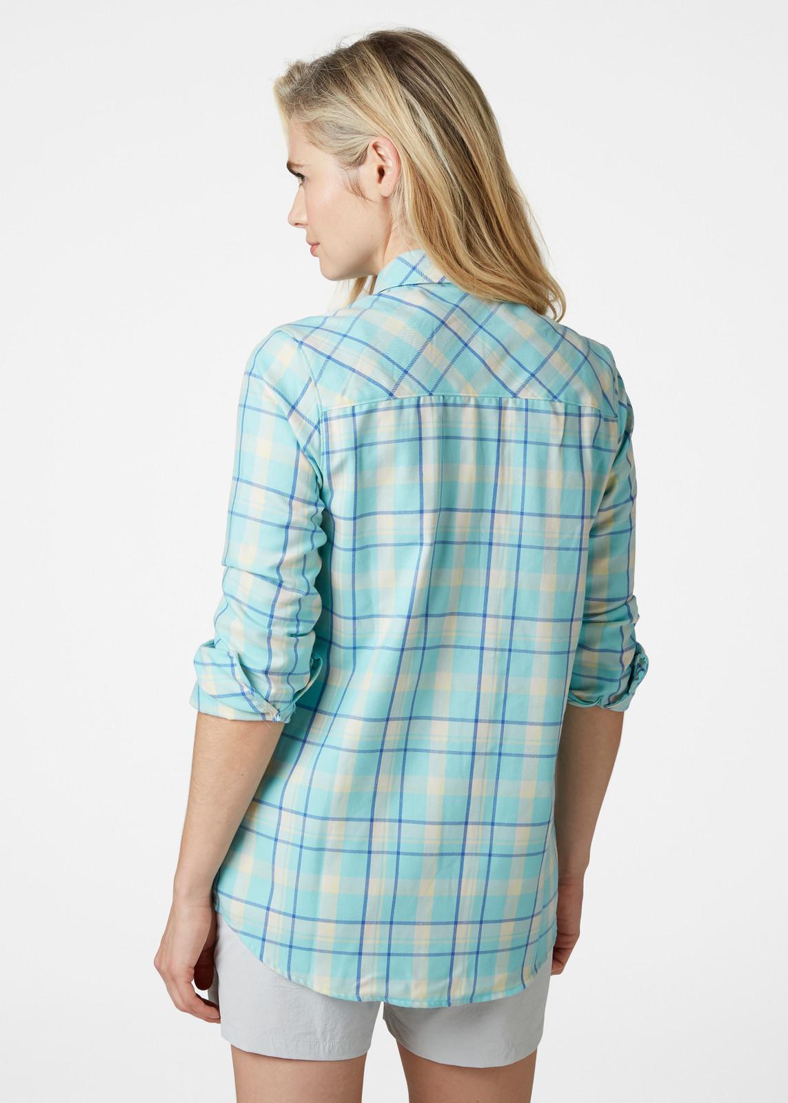 Helly Hansen Lokka LS Shirt, Women's - Glacier Blue, 62875-648 on model back