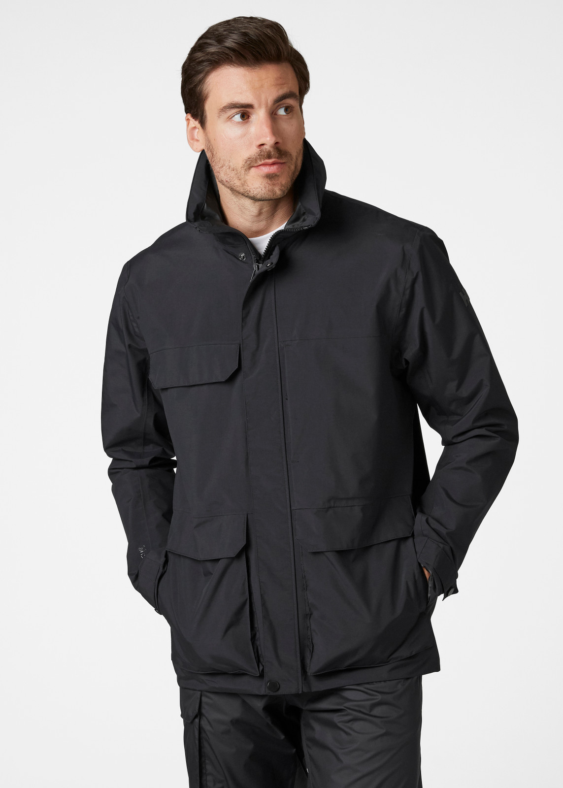 Helly Hansen Utility Rain Jacket, Men's - Black, 53415-990 on model