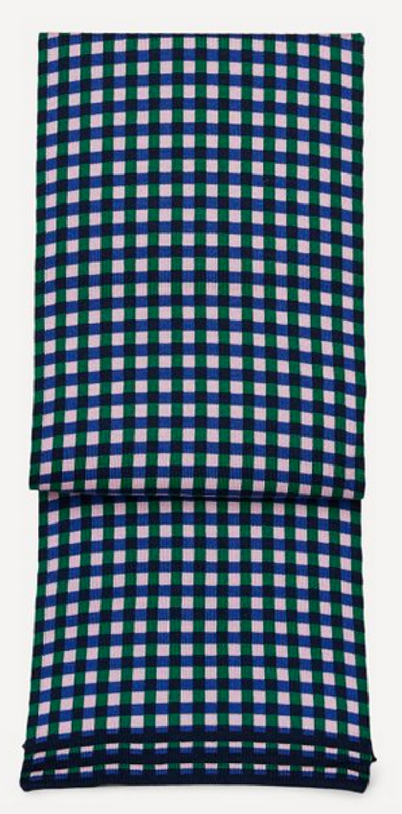 Oleana Gingham Graph Scarf, 556-W Blueberry Green
