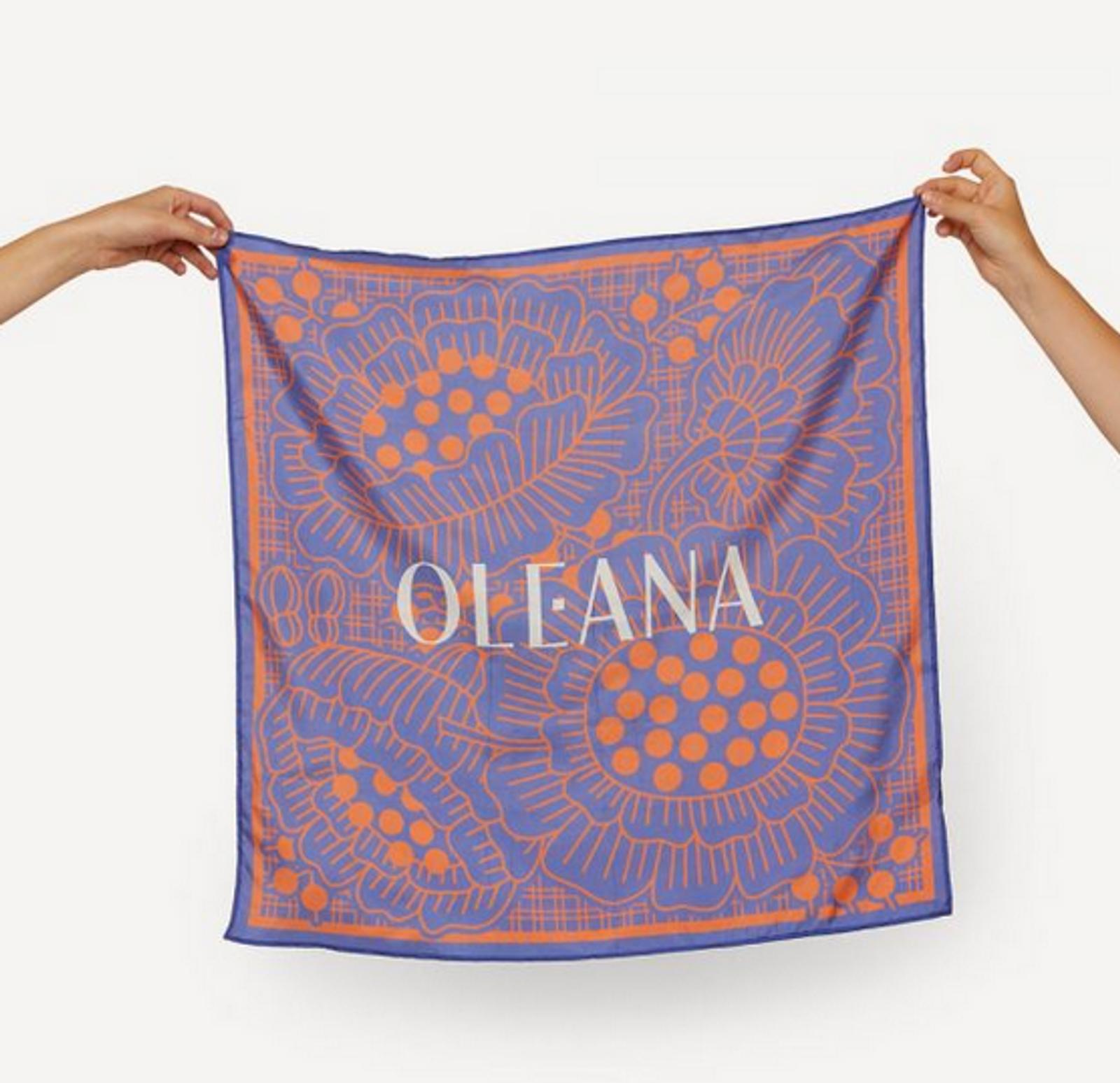 Oleana Romantic and Square Scarf, 519-E Blue Carrot