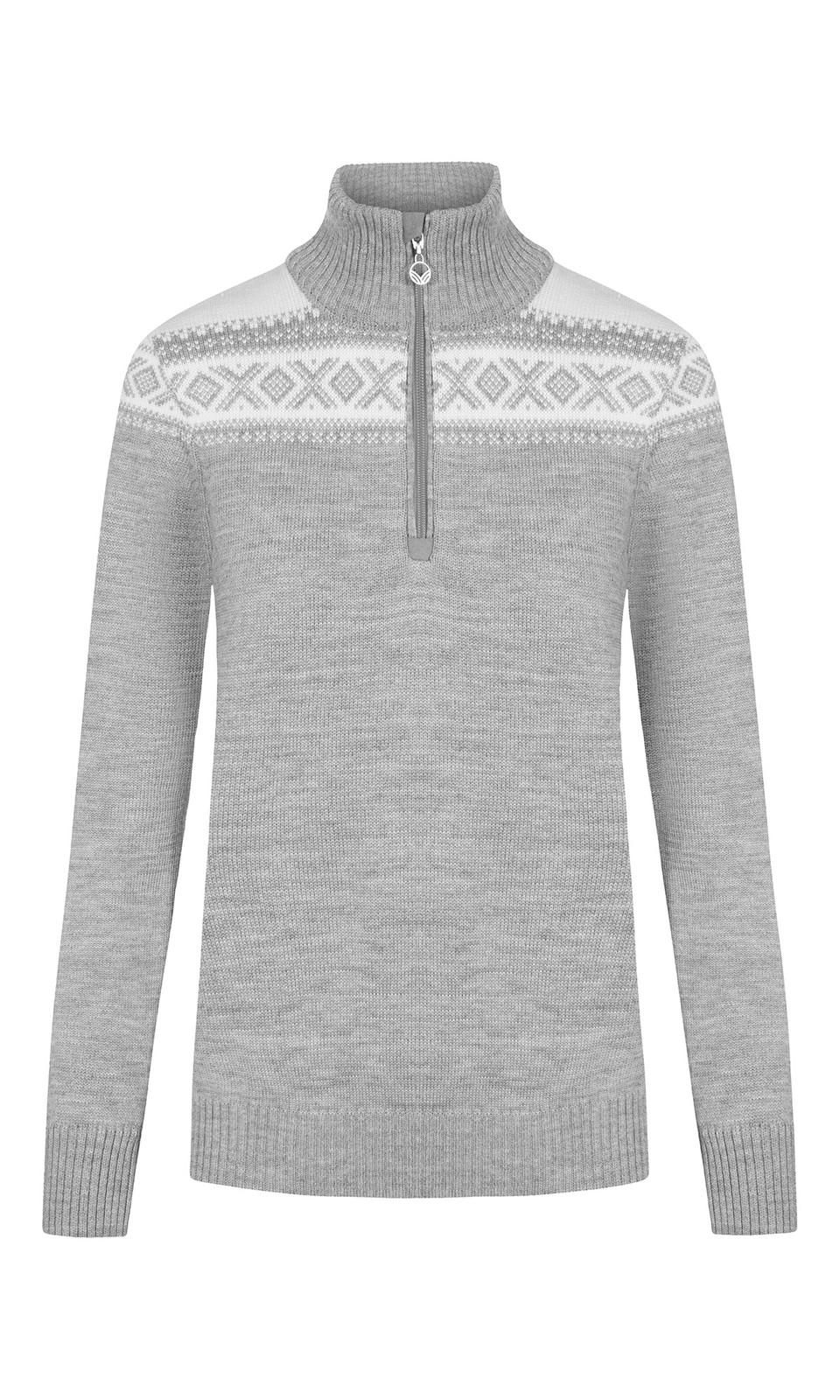 Dale of Norway Cortina Merino Sweater, Ladies - Light Charcoal/Off White, 93811-T