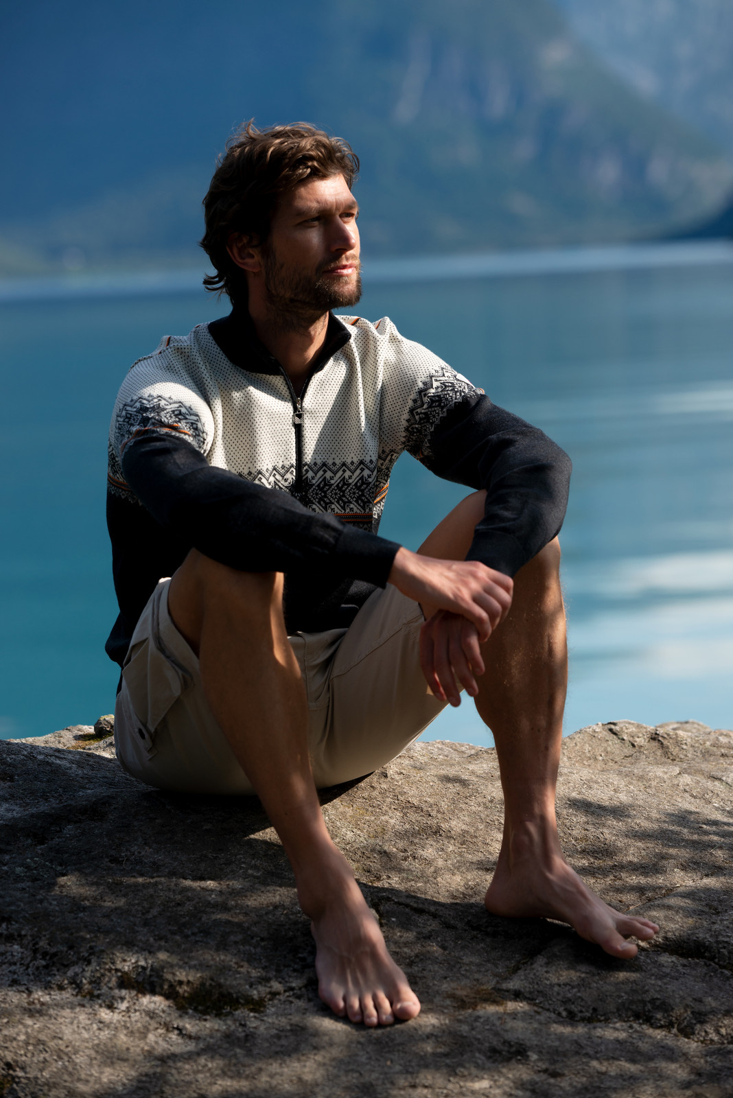 Dale of Norway Hovden Sweater, Mens - Dark Charcoal/Off white/Smoke/Orange Peel, 93441-E