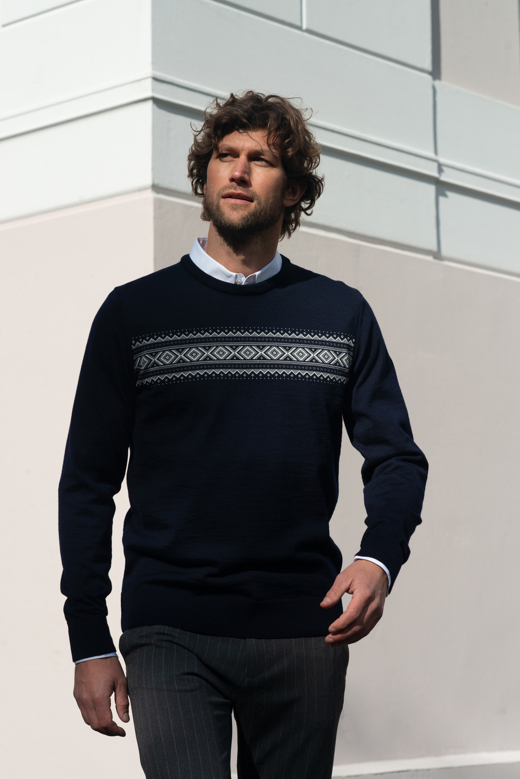 Dale of Norway Sverre Sweater, Mens - Navy/Off White/Smoke, 93031-H
