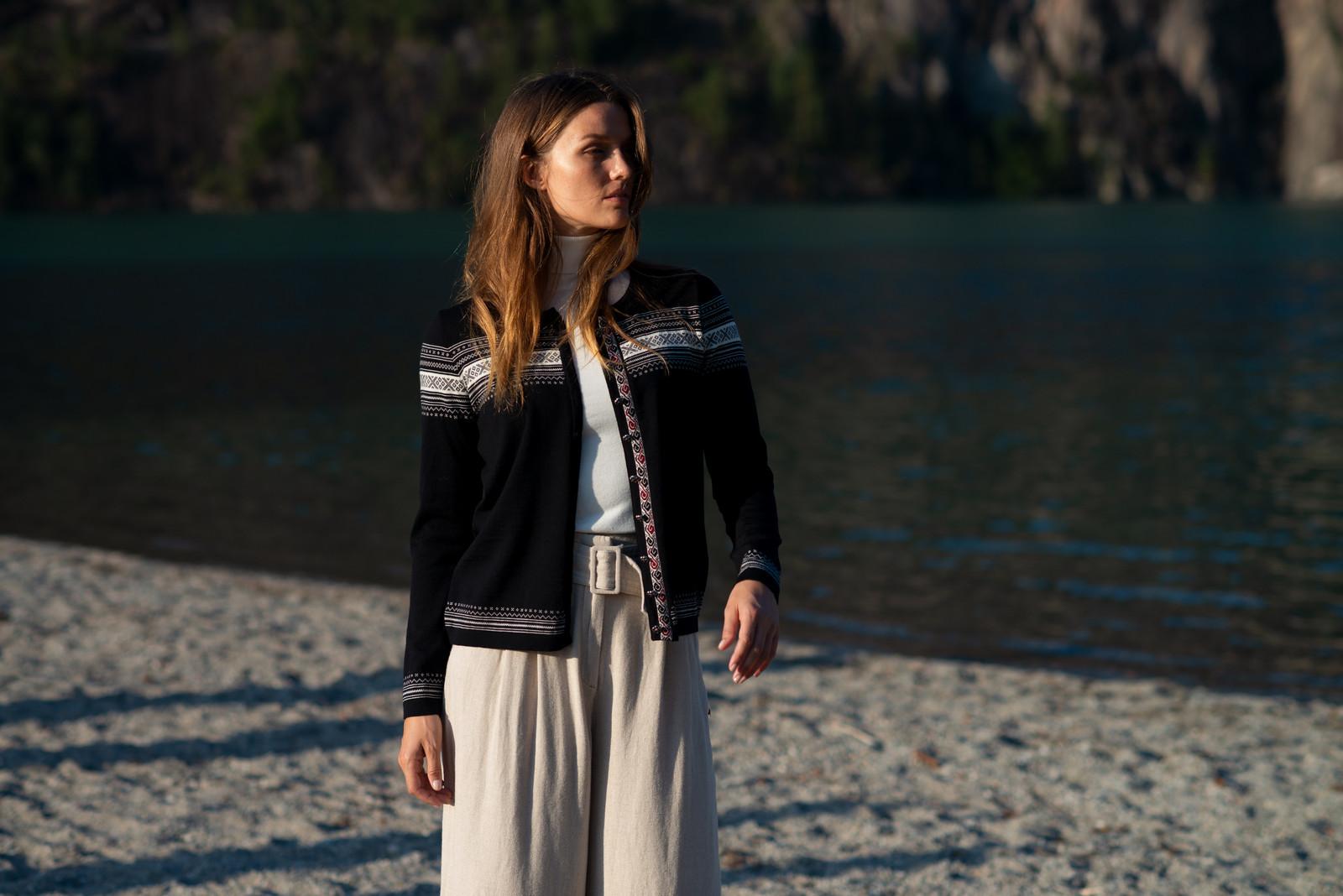 Dale of Norway Hedvig Cardigan, Ladies - Black/Off White/Ruby Melange, 83741-F