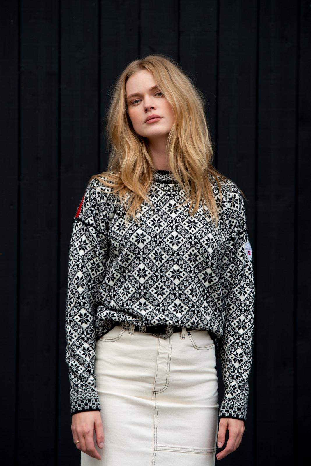 Dale of Norway Bjorøy Sweater, Ladies - Black/Off White/Raspberry, 94401-F (94401-F)