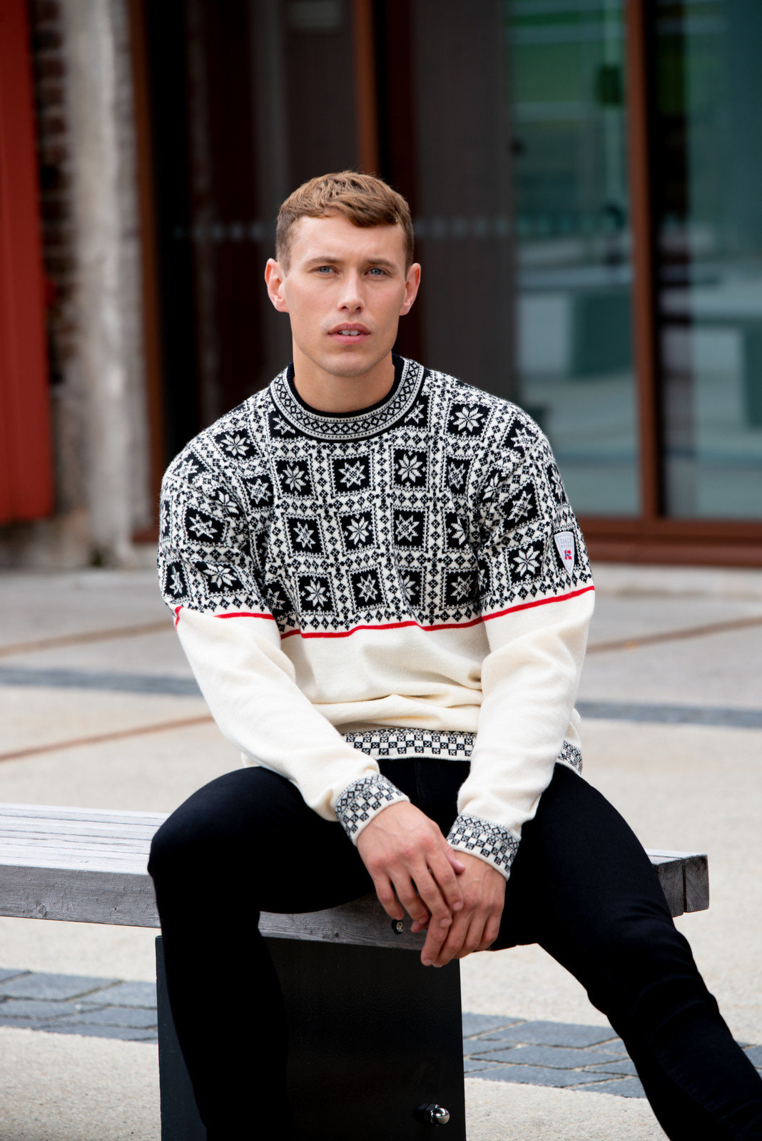 man wearing Dale of Norway Tyssøy Sweater, Mens- Off White/Black/Raspberry, 94411-A (94411-A)