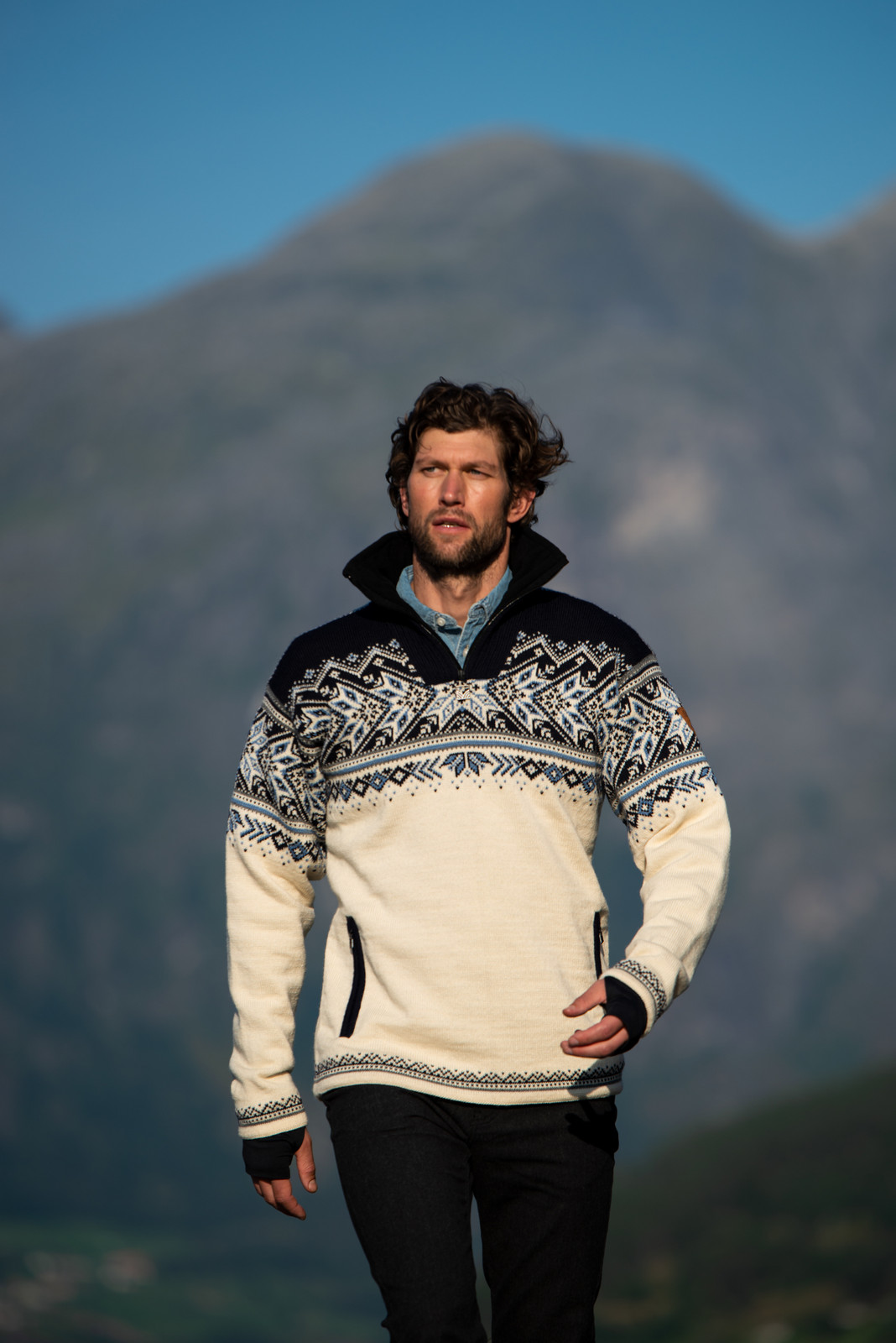 Dale of Norway Vail Weatherproof Sweater, Mens - Off White/Smoke/Midnight Navy/Navy/Blue Shadow, 93981-A (93981-A)