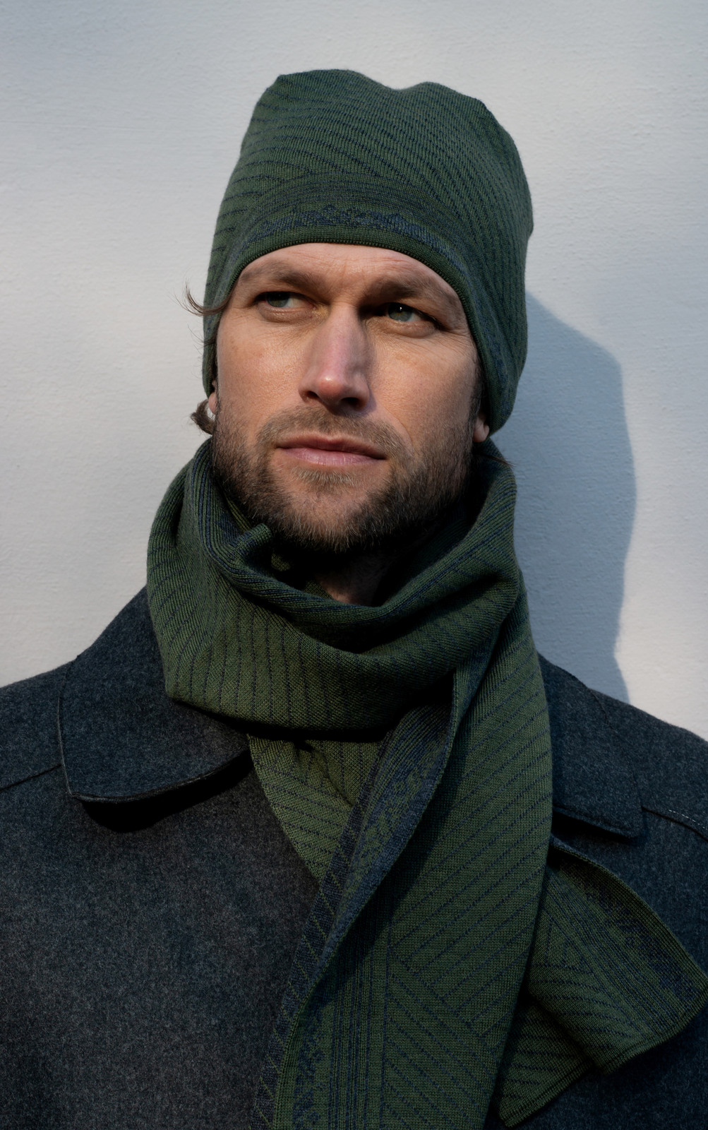 man wearing Dale of Norway André Scarf and Hat