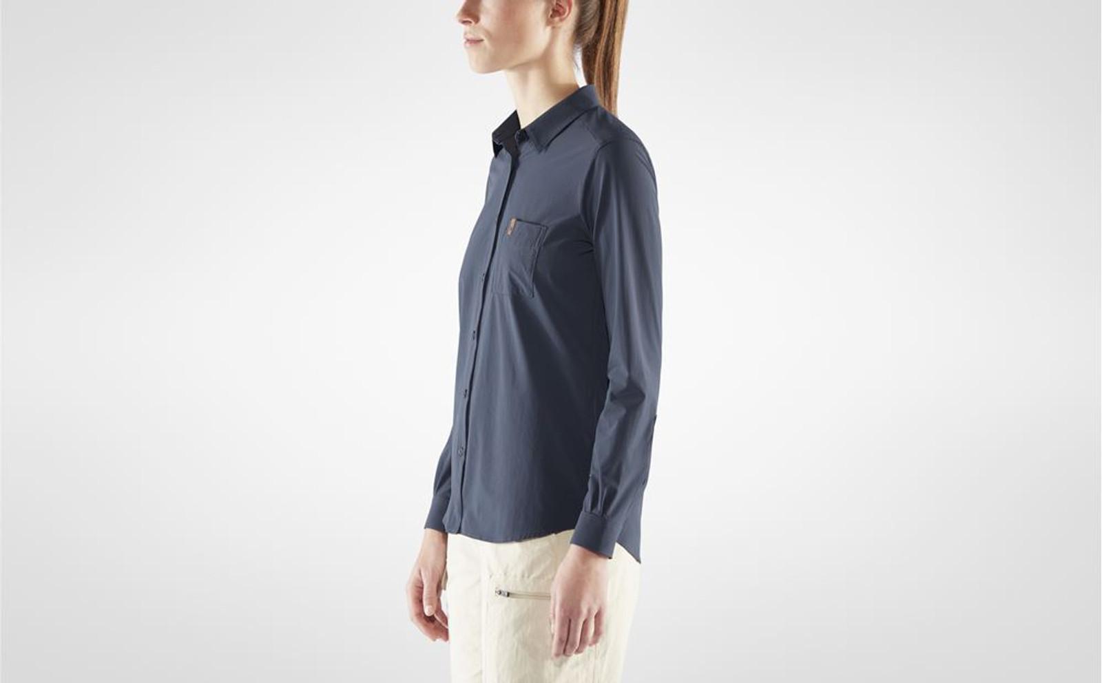 Fjällräven Övik Lite Shirt, Women's, Navy - F89980-560 (F89980-560) on model