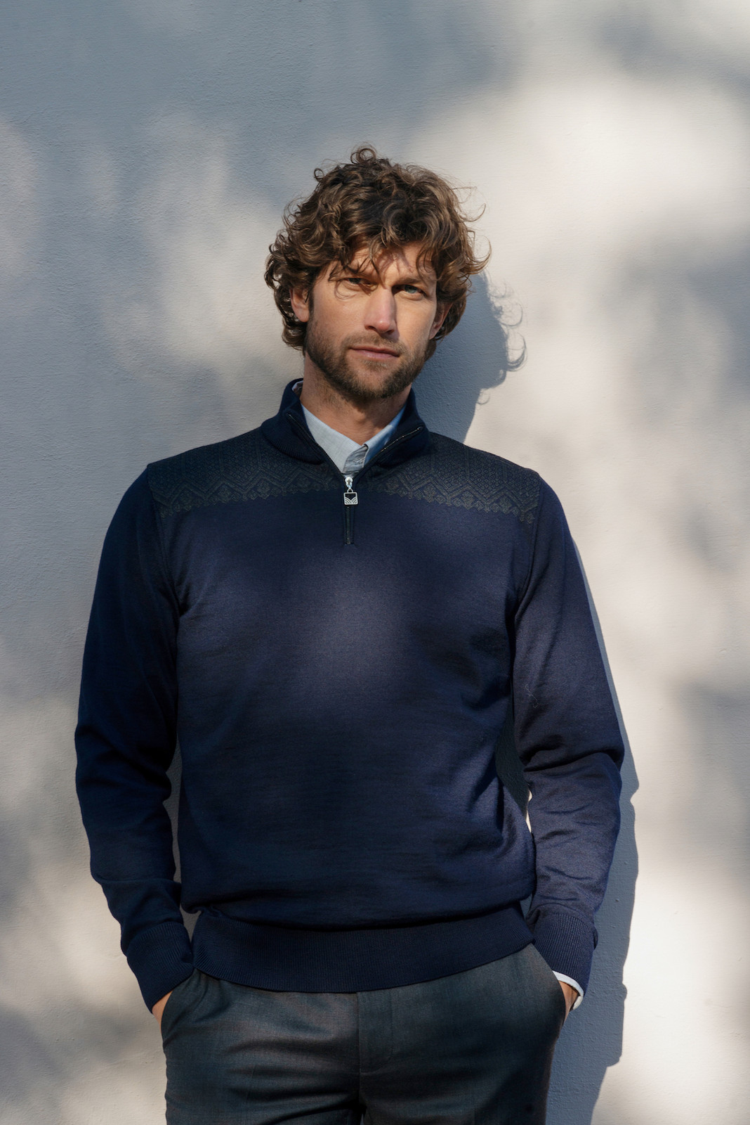 Dale of Norway Eirik Pullover - Navy/Dark Charcoal, 93851-H (93851-H) on model