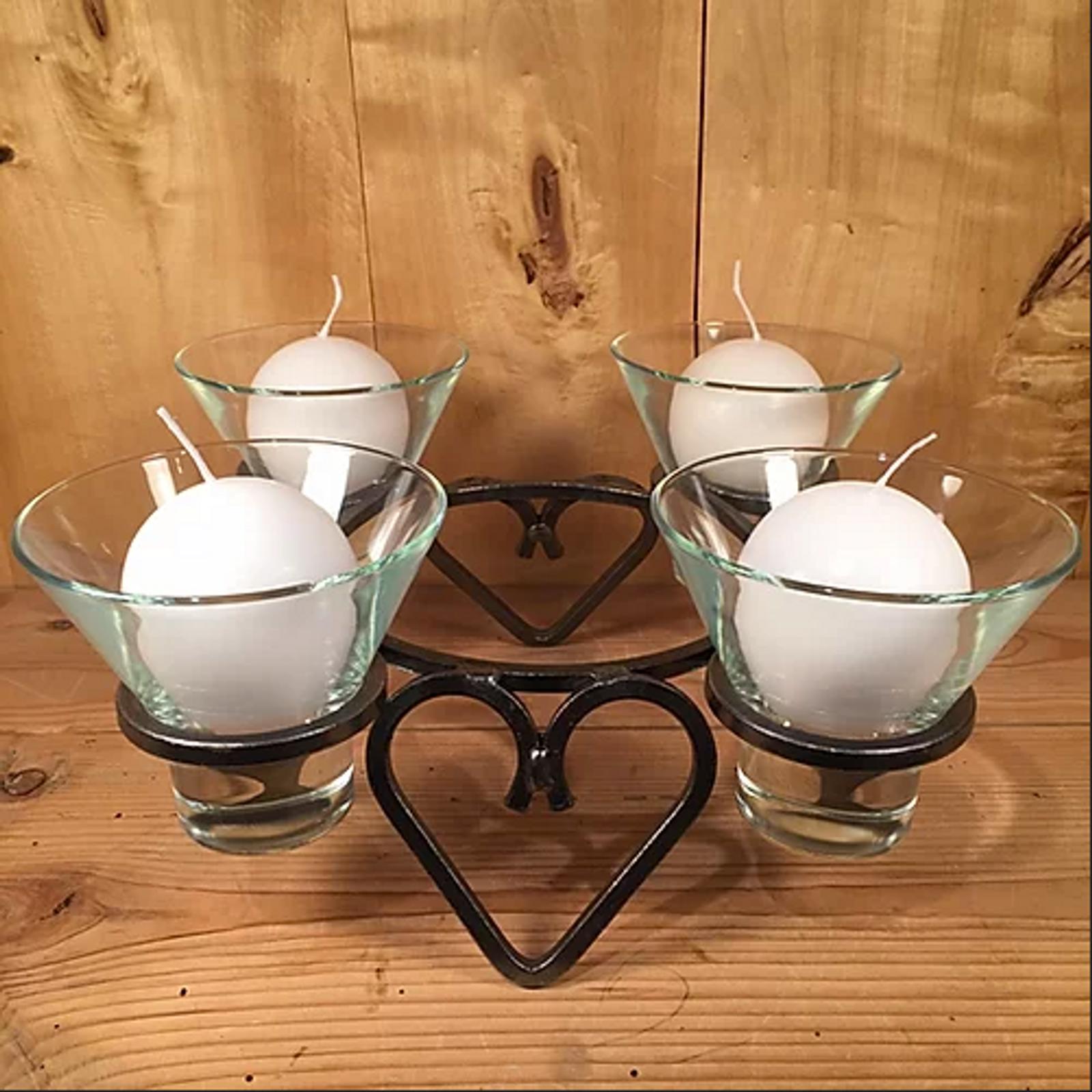 Danish Iron Four Hearts Round Candleholder (91-0805)