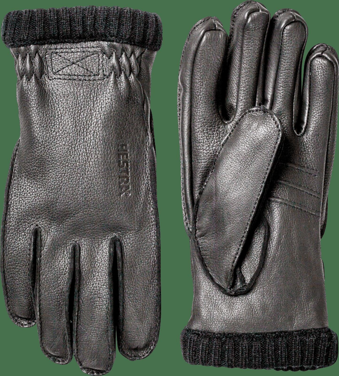 Hestra Deerskin Primaloft Rib Unisex Gloves, Black (20210-100)