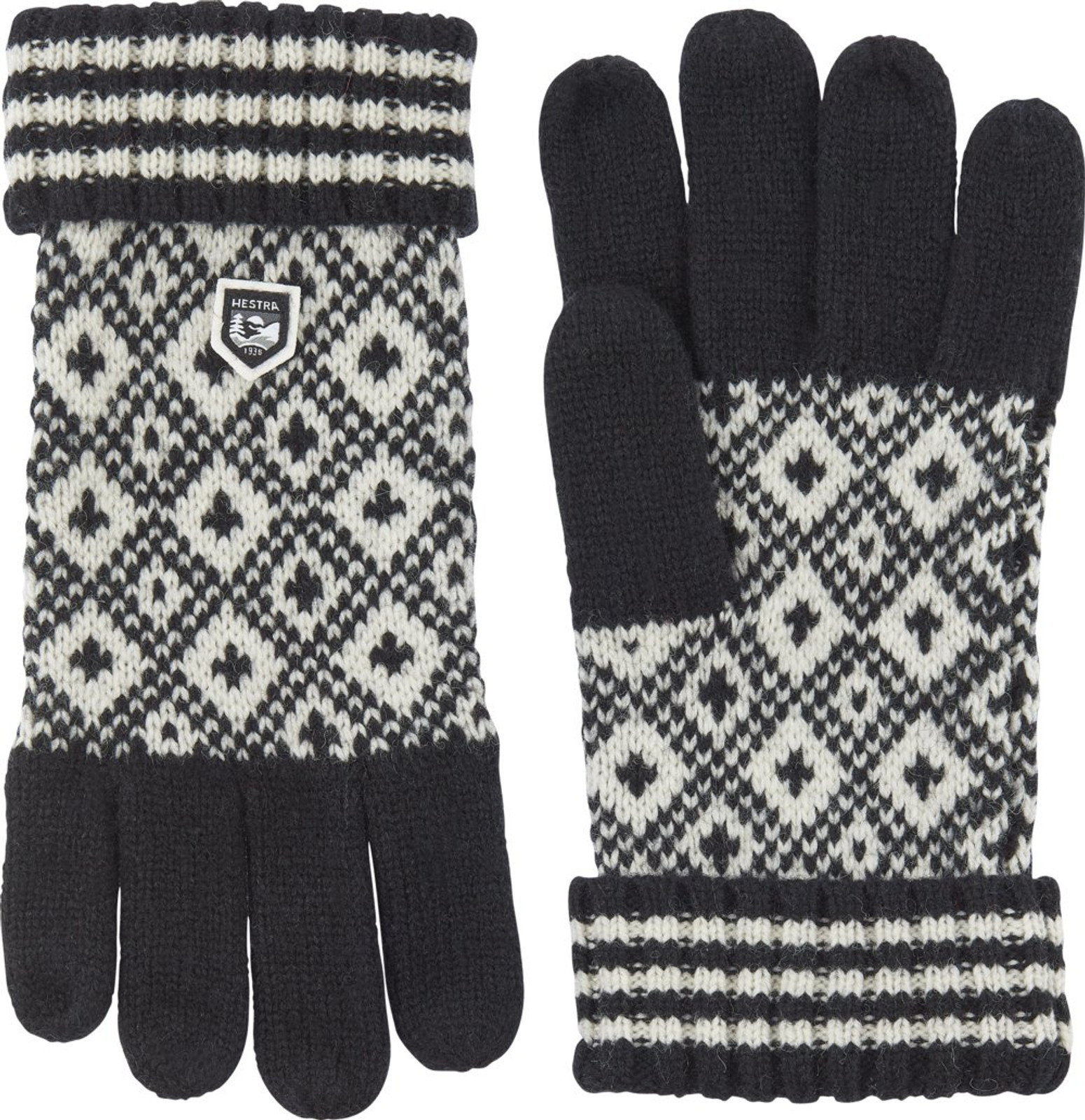 Hestra Fryken Wool Knit Unisex Gloves, Black/White (63780-100020)
