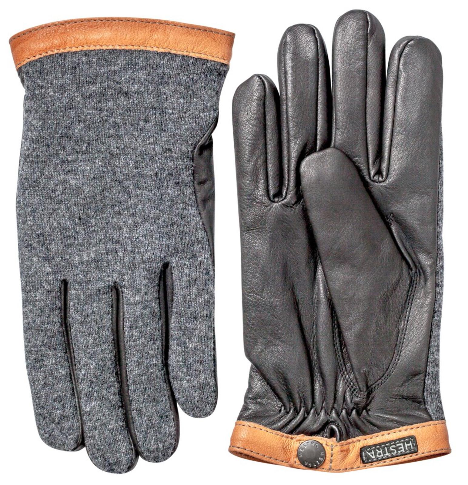 Hestra Deerskin Wool Tricot Unisex Gloves, Charcoal/Black (20450-390100)