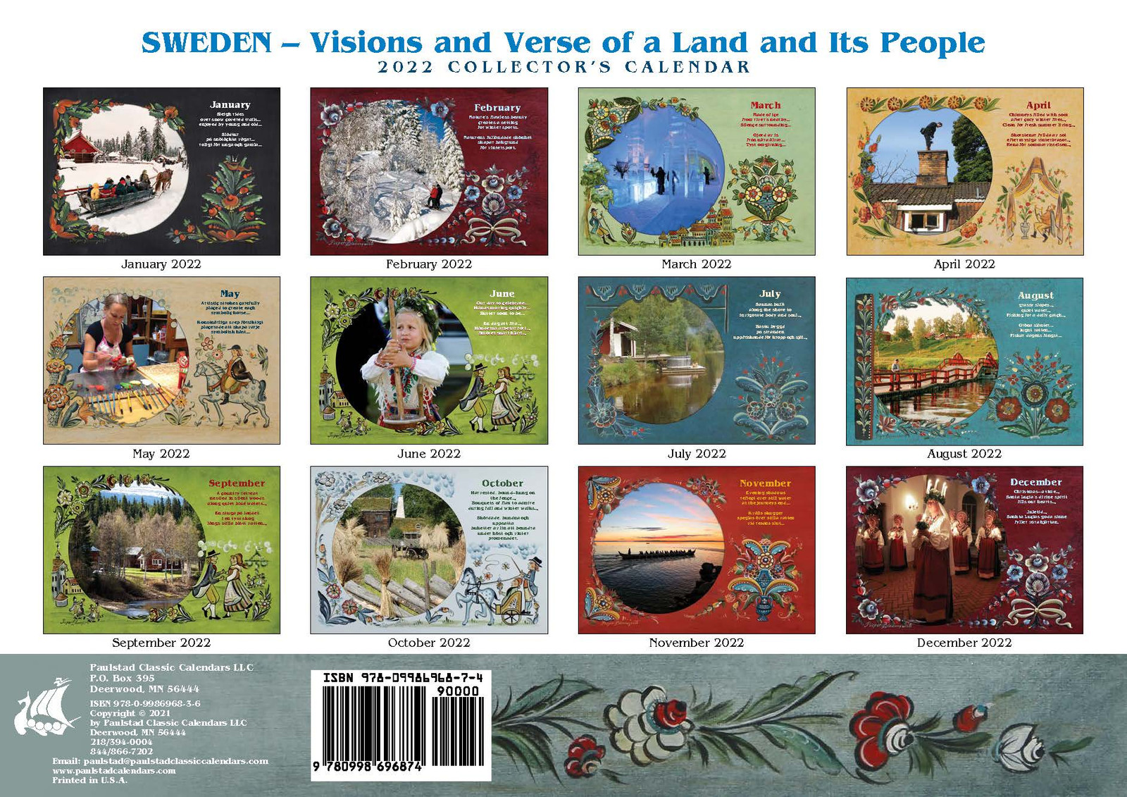 2022 Sweden Visions and Verse Calendar - Paulstad, Back Cover
