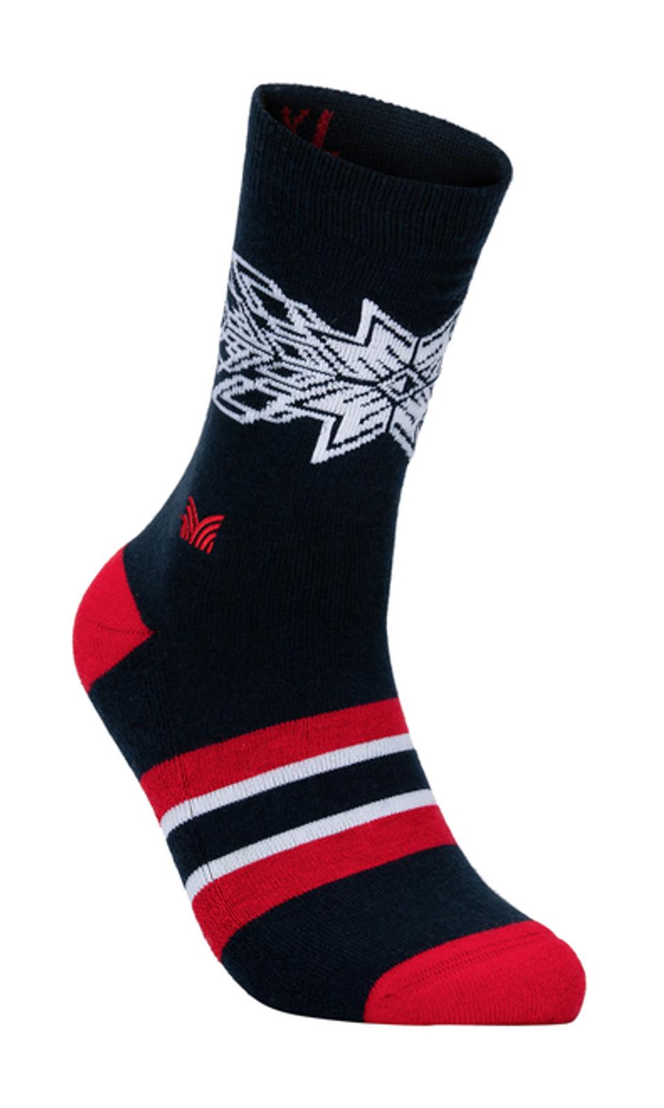 Dale of Norway OL Spirit Sock, Navy/Raspberry/Off White, 50121C