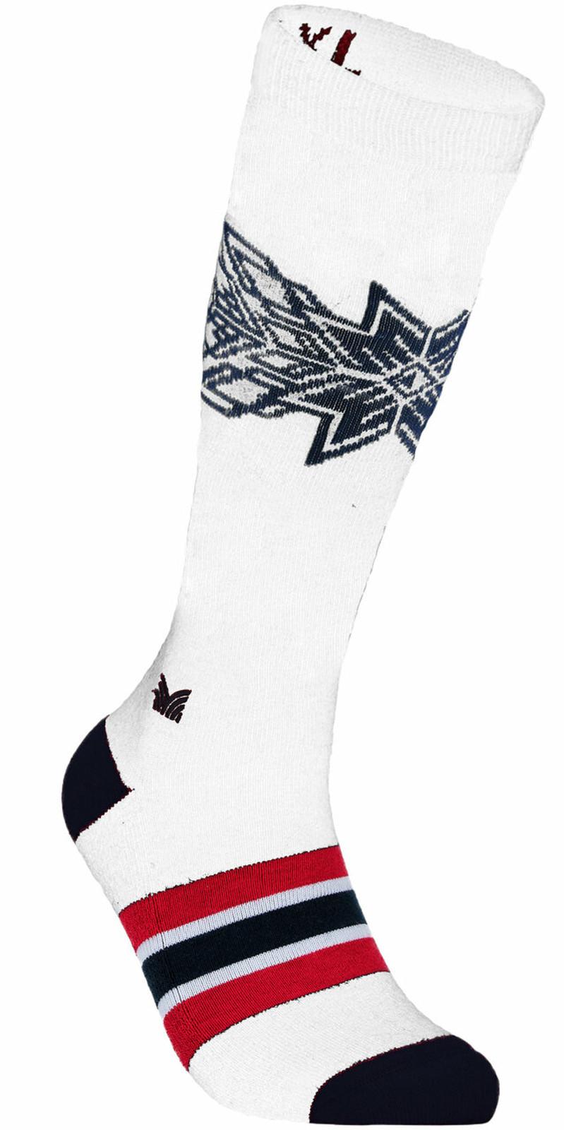 Dale of Norway OL Spirit Sock High, Off White/Navy/Raspberry, 50131A