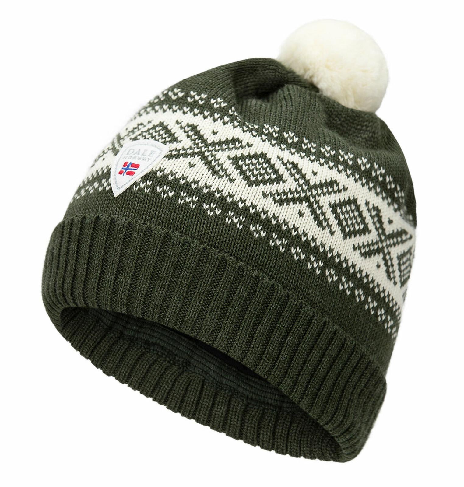 Dale of Norway Cortina Kids Hat 4-8, Dark Green/Off White, 43341-G