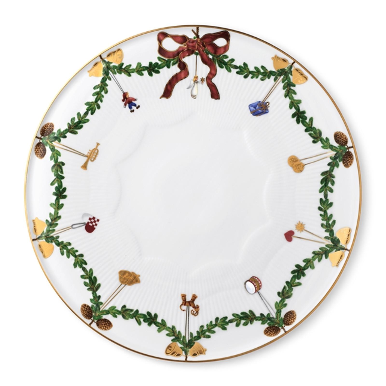 "Royal Copenhagen Star Fluted Christmas Dish, 12.5"", #373"