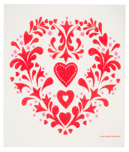 Swedish dish cloth, Red Folk Heart design