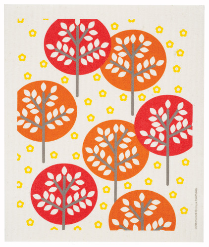 Swedish dish cloth, Orange Forest design