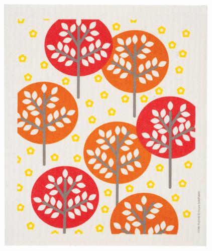 Swedish dish cloth, Orange Forest design
