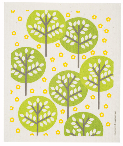 Swedish dish cloth, Green Forest design