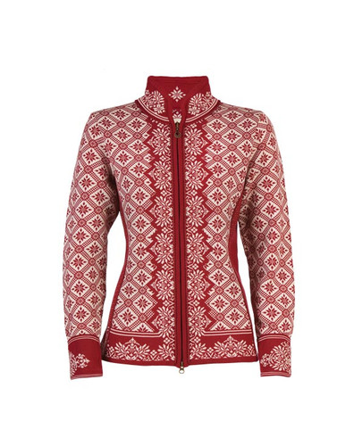 Dale of Norway Christiania Cardigan, Ladies - Red Rose/Off White, 81951-B