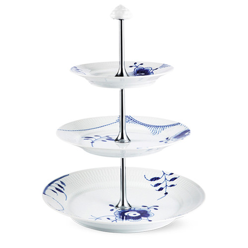 Royal Copenhagen Blue Fluted Mega Etagere 3 Layer, 13.75""