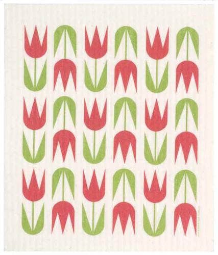 Swedish dish cloth, Red Tulips design
